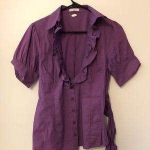 Short sleeved ruffled blouse